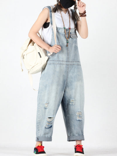 Erin Vintage Ripped Abrasion Overall Dungarees