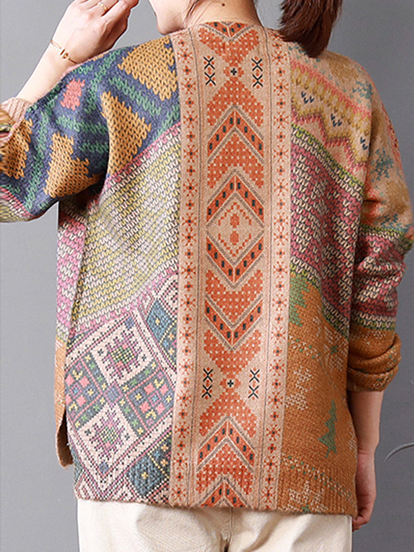 Shelly Vintage Ethnic Sweater Top with Asym Prints