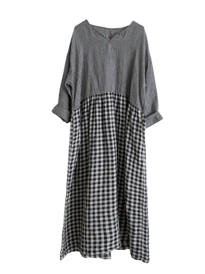 Concepcion Vintage Patchwork Contrasting Plaid Print Linen High-waist Maxi Dress