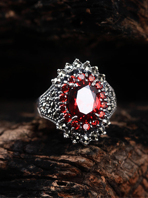 Brandi Vintage Garnet Ring with Double Round Silver Bands