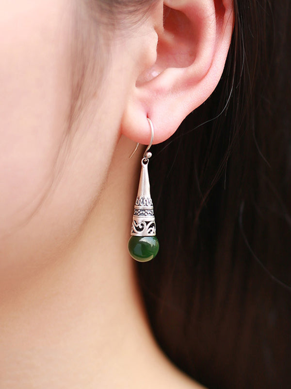 Vivian Vintage Inset Conic Jade Earrings with Silver Coating