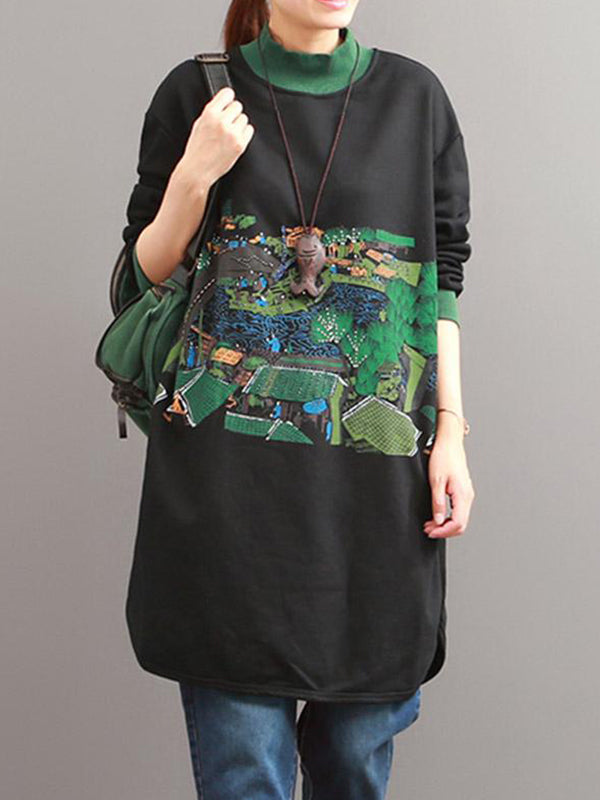 Graffti Street Style High Neck Tshirt Top