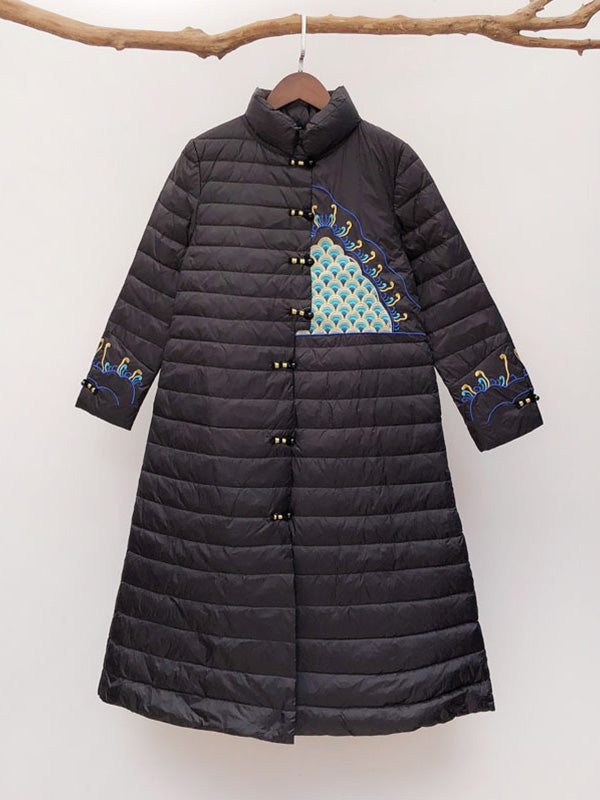 Sylvia Stand Neck Ethnic Embroidery Quilted Down Overcoat with Buttonhole Loops