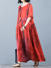 Look From My Side Color Contrast Swing Maxi Dress