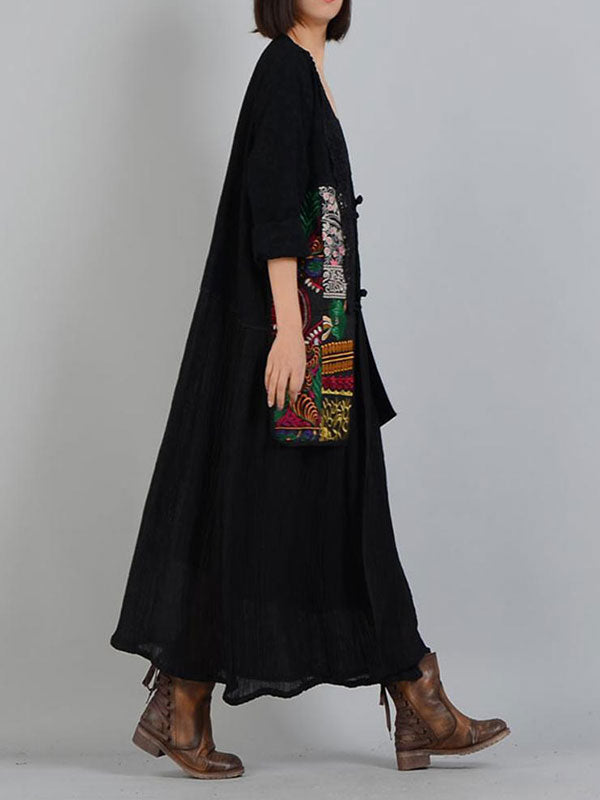 Lace Neck Ethnic Embroidered Print Coat