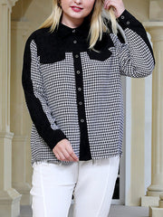Black & White Plaid Plus Size Shirt