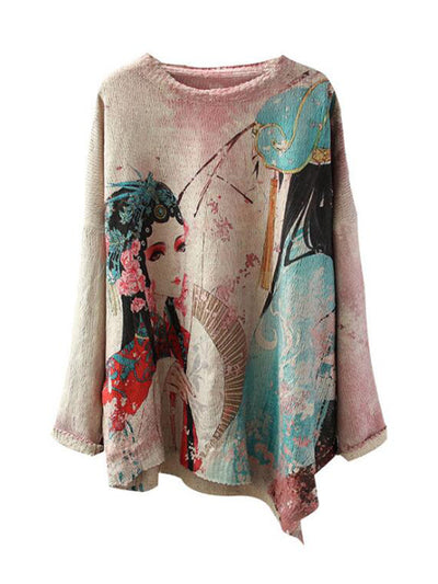 Ingrid Irregular Beijing Opera Printing Knit Top