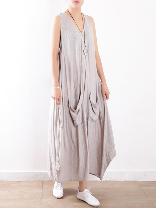 Ellie Crincle Linen & Cotton A-Line Dress