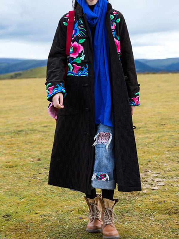 Veronica Stand Neck Ethnic Embroidery Cotton Overcoat with Floral Prints