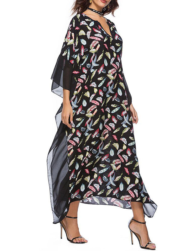 Aurora Feather Print Kaftan Dress