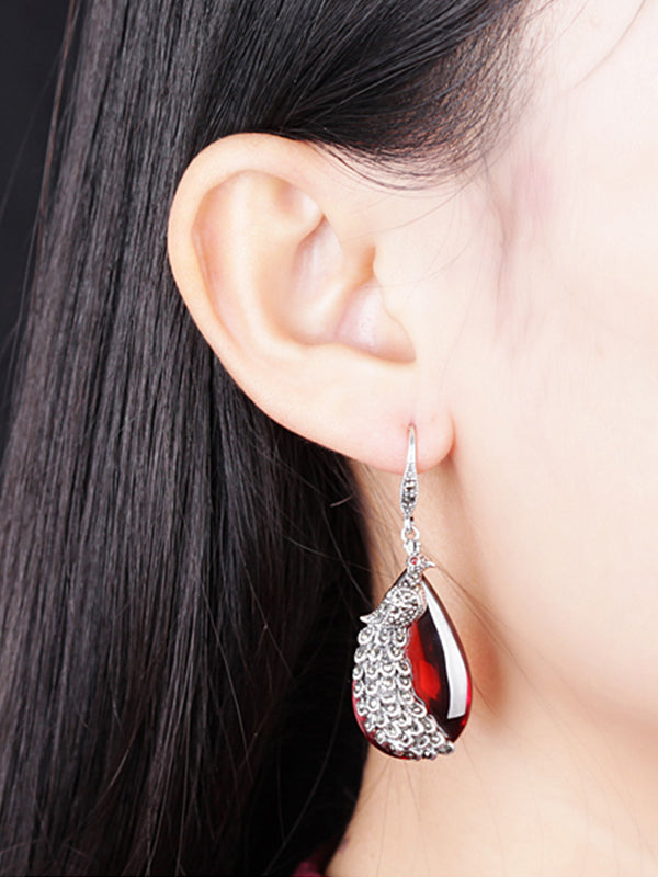 Cecilia Garnet Tear-shaped Earrings with Silver Peacock Inset