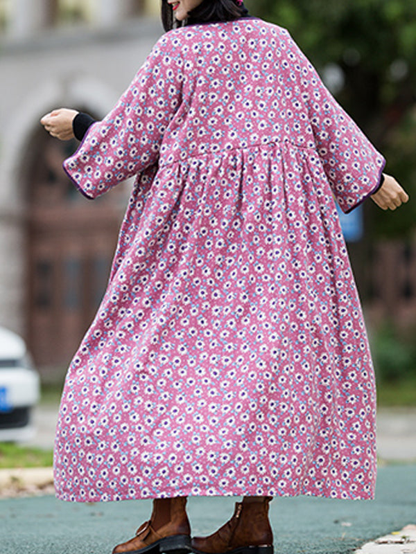 Sloping Lapel Smock Dress With Floral Prints