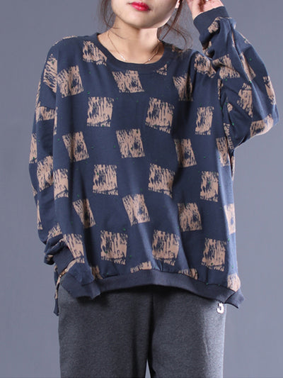 Chris Raglan Sleeve Top With Block Pattern