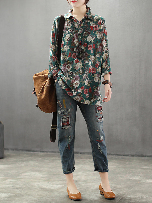 Tonia Vintage Contrasting Bloomed Flower Print Buttoned Lapel Tops