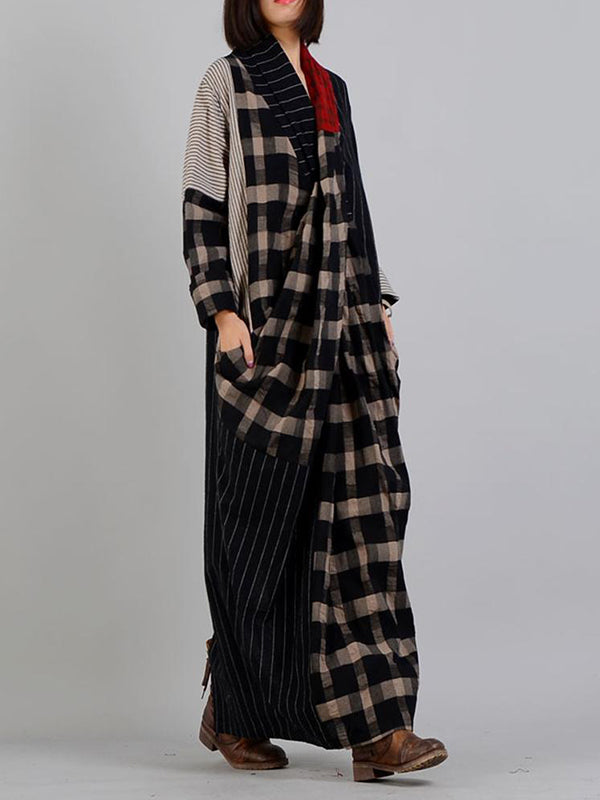 Plaid Duo Stripe Print Wrap Dress