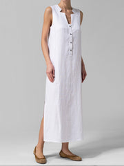 Button Align Slide-On Maxi Dress