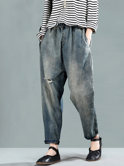 Millie Vintage Ripped Pants with Pockets