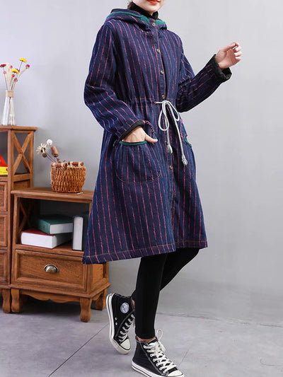 Private Affair Stripe Print Hooded Coat