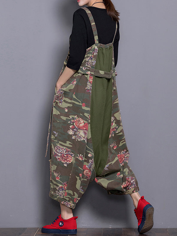 Rare Rose Hippie Army Green Overalls Dungarees