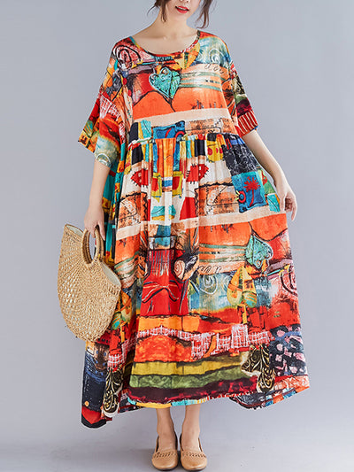 Lucille Arbitrary Patterns Smock Dress