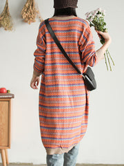 Molina Striped Long Cardigan Sweater