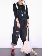 Patch Ripped Cotton Overalls Dungarees