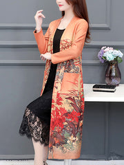 Amusement of Art Floral Print Kimono Style Midi Dress