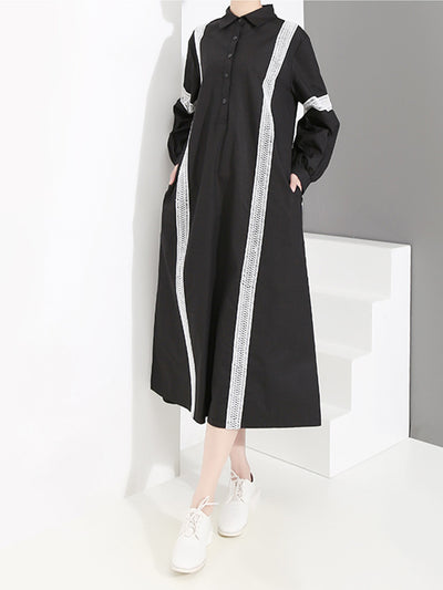 Aada Polo Neck Joint Solid Color Stripes Shirt Dress