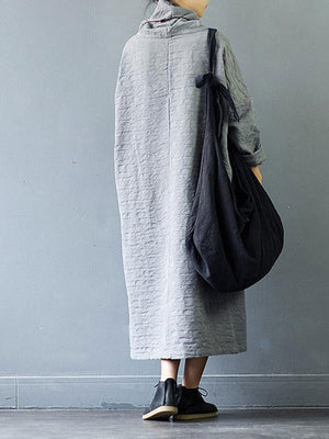 Loose Turtleneck Textured Shift Dress