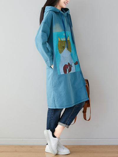 Guitar Learner Cat Hooded Sweatshirt Dress