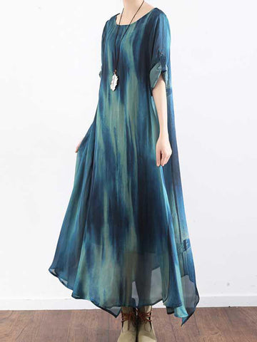 Asymmetrical Gradient Maxi Dress