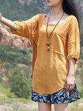 Loose Cotton Linen Short-Sleeve Pullover T-Shirts