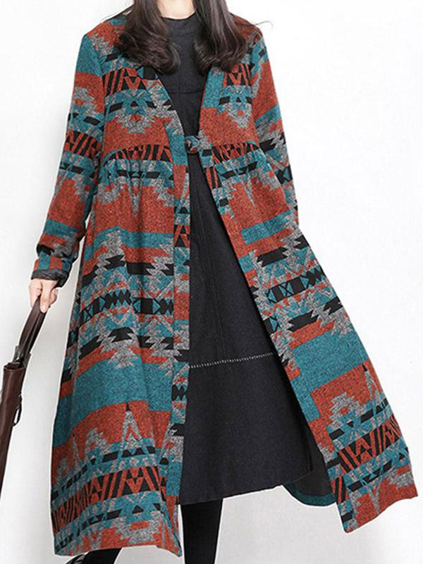 Snowflake Front Open Swing Coat