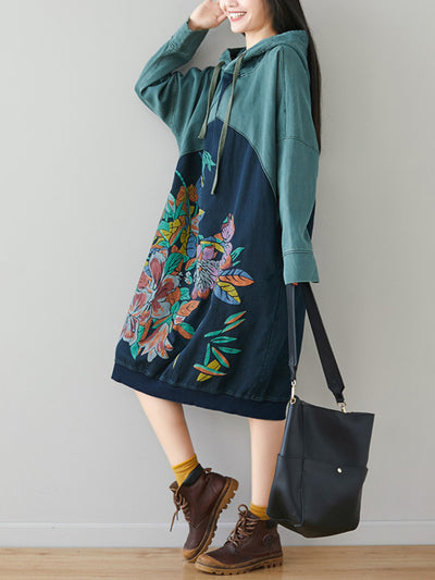 Ethnic Floral Hoodies Sweatshirts Dress