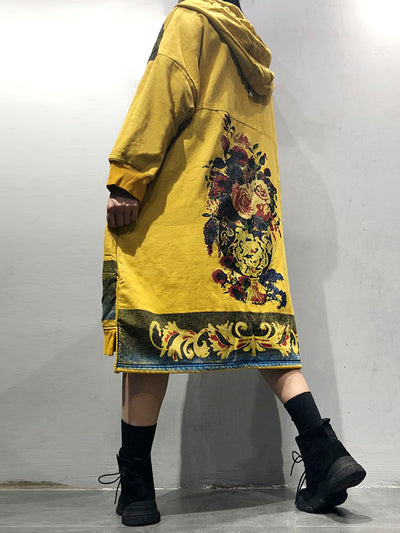 The Real Ethnic Print Hooded Sweatshirt Dress
