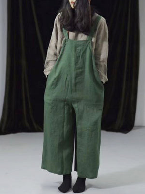 Jewel Cotton Wide-Legged Overall Dungarees