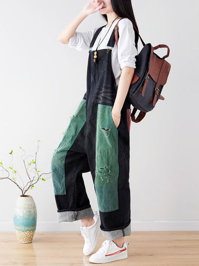 Letha Corduroy Vintage Ripped Harem Overall Dungarees