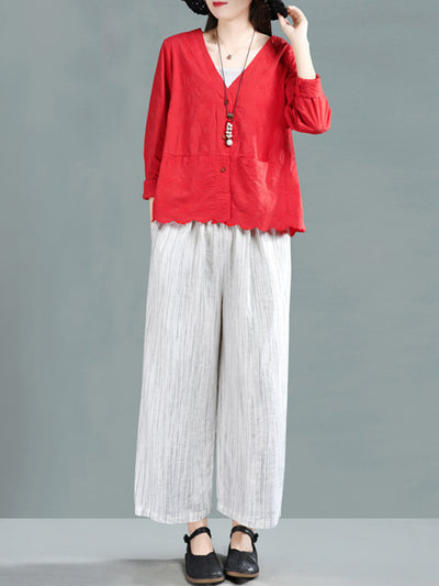 Milagros Vintage Vertical Stripes Baggy Linen Wide Leg Pants
