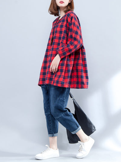 Earline Round Collar Classic Contrasting Plaid Print High Waist Shirt