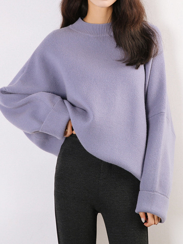 Basic Pullover Sweatshirt With Solid Color