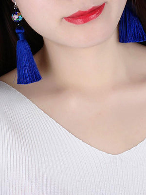 Delilah Blue Tassel Earrings