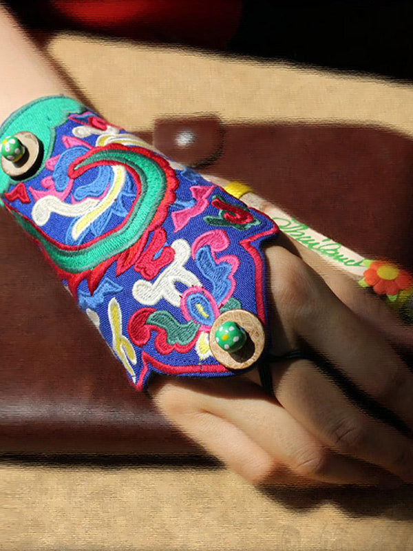 Scandinavian Embroidery Hand Wrist Gloves