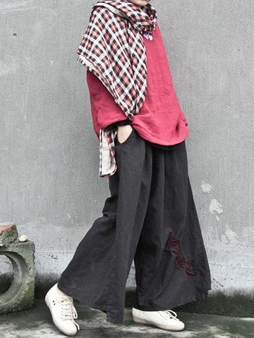 Embroidered Wide Leg Trousers Retro Style Pants