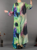 Vintage Art Printed Long Silk Dress