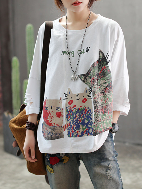 Angelia Vintage Kitty Printing Tops with Cracked Sleeves