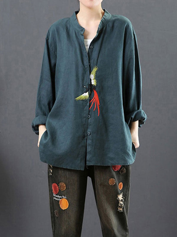 Fashion Bird Front Button Top