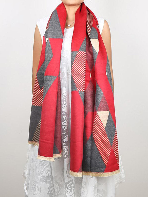 Diamond Cut Print Wool Scarf