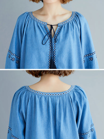Callum Sleeve Embroidered Cotton Tunic Top