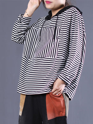 Reba Raglan Sleeve Round Neck Tunic Top With Stripe Parttern