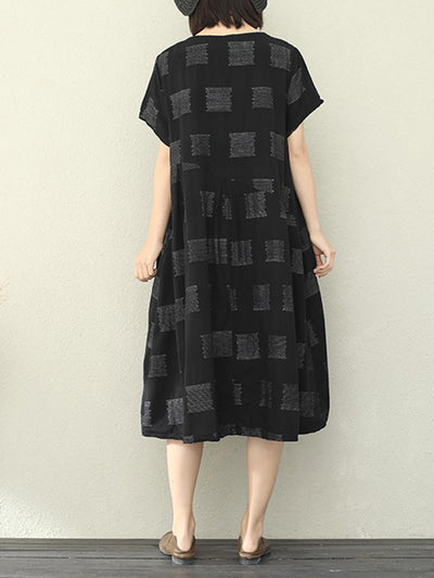 Hiding Blocks Gracy Linen A-Line Dress